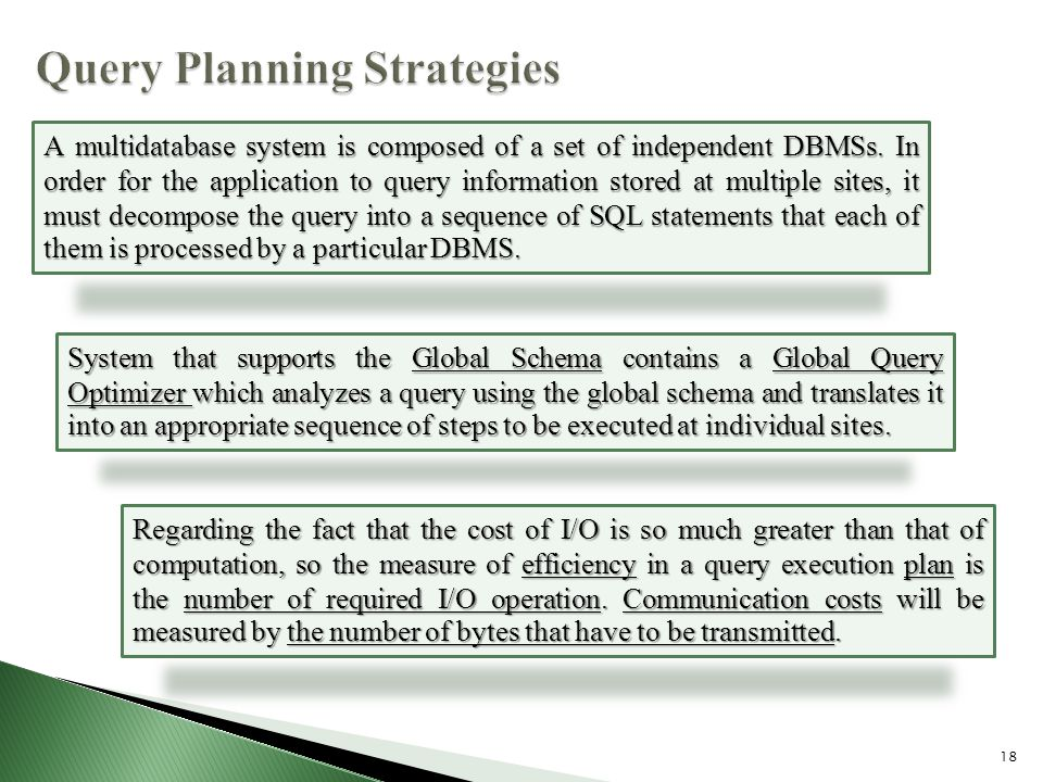 18 A multidatabase system is composed of a set of independent DBMSs.