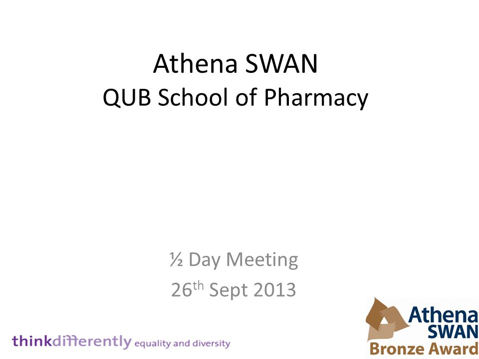 Athena SWAN QUB School of Pharmacy ½ Day Meeting 26 th Sept 2013
