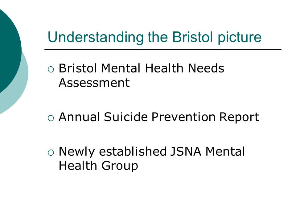 Understanding the Bristol picture  Bristol Mental Health Needs Assessment  Annual Suicide Prevention Report  Newly established JSNA Mental Health Group