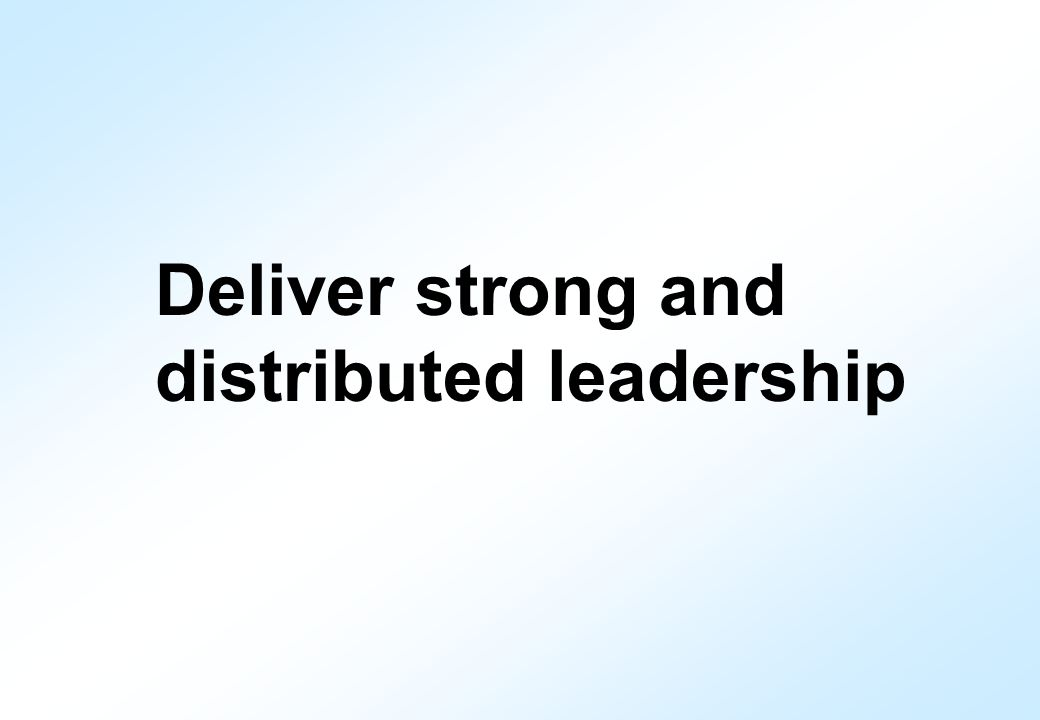 Deliver strong and distributed leadership