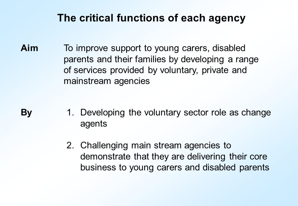 The critical functions of each agency AimTo improve support to young carers, disabled parents and their families by developing a range of services provided by voluntary, private and mainstream agencies 1.Developing the voluntary sector role as change agents 2.Challenging main stream agencies to demonstrate that they are delivering their core business to young carers and disabled parents By