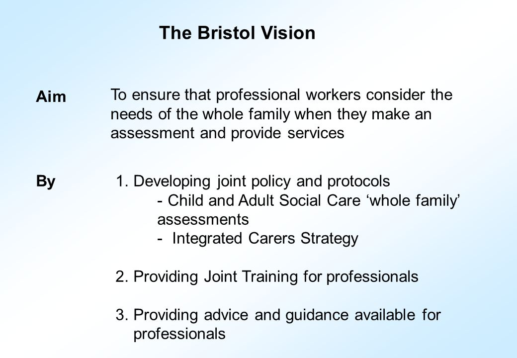 Aim To ensure that professional workers consider the needs of the whole family when they make an assessment and provide services 1.Developing joint policy and protocols - Child and Adult Social Care 'whole family' assessments - Integrated Carers Strategy 2.Providing Joint Training for professionals 3.Providing advice and guidance available for professionals By The Bristol Vision