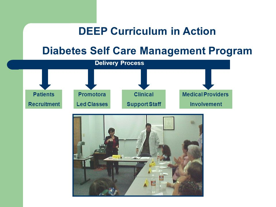 Patients Recruitment Promotora Led Classes Medical Providers Involvement DEEP Curriculum in Action Diabetes Self Care Management Program Delivery Process Clinical Support Staff
