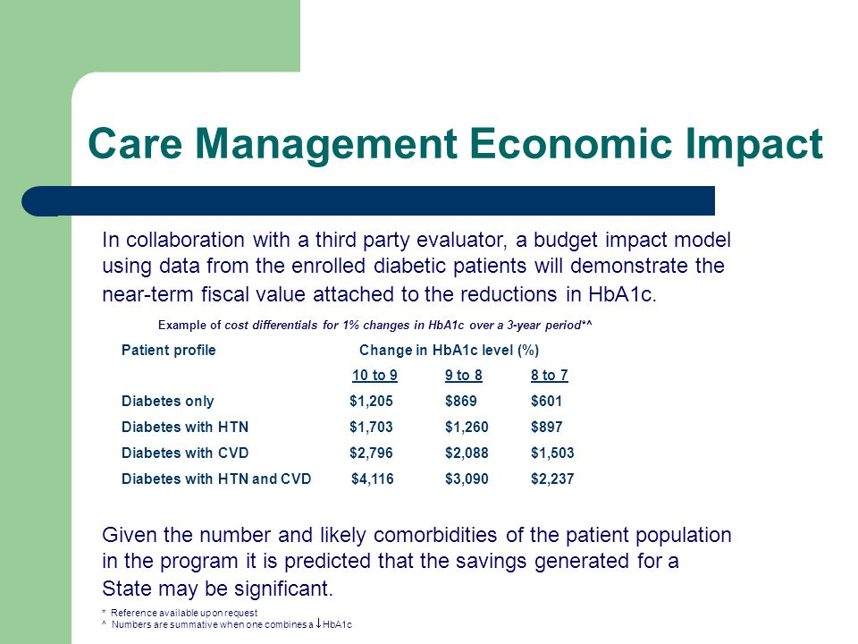 Care Management Economic Impact In collaboration with a third party evaluator, a budget impact model using data from the enrolled diabetic patients will demonstrate the near-term fiscal value attached to the reductions in HbA1c.