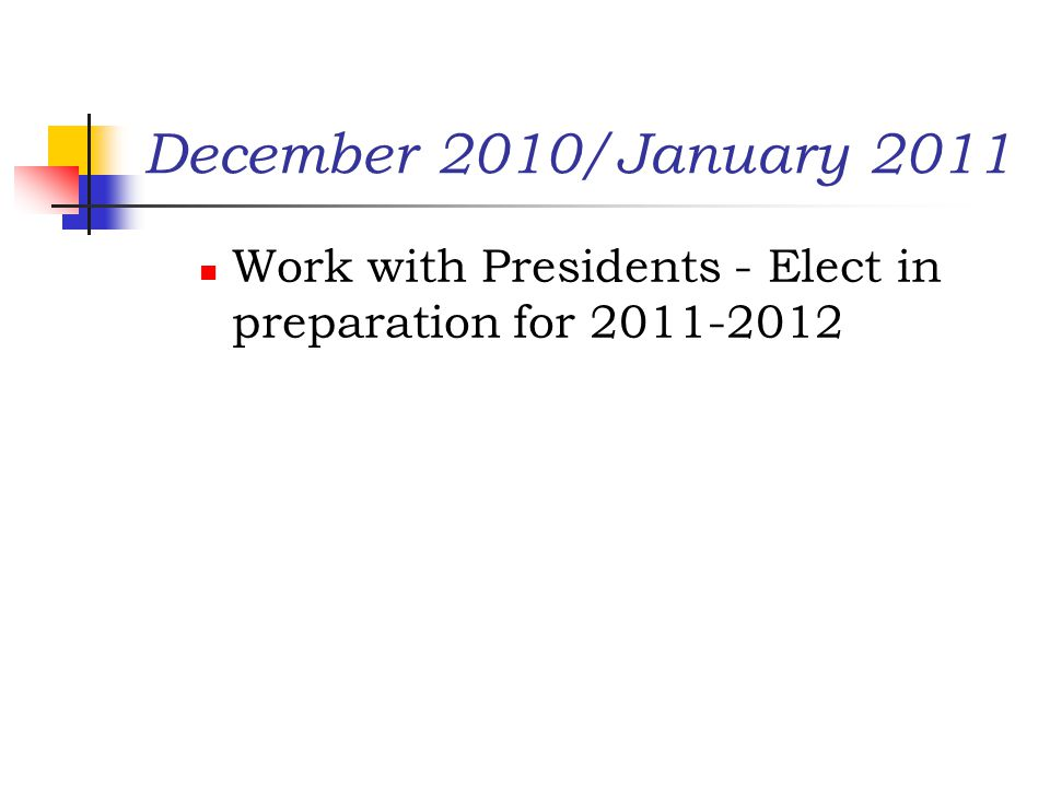 December 2010/January 2011 Work with Presidents - Elect in preparation for