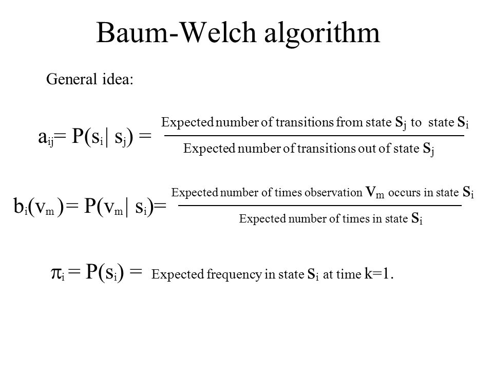 General idea: a ij = P(s i | s j ) = Expected number of transitions from state s j to state s i Expected number of transitions out of state s j b i (v m ) = P(v m | s i )= Expected number of times observation v m occurs in state s i Expected number of times in state s i  i = P(s i ) = Expected frequency in state s i at time k=1.