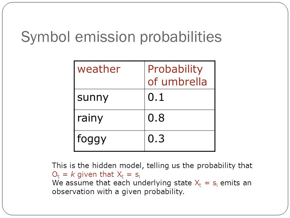 Symbol emission probabilities weatherProbability of umbrella sunny0.1 rainy0.8 foggy0.3 This is the hidden model, telling us the probability that O t = k given that X t = s i We assume that each underlying state X t = s i emits an observation with a given probability.