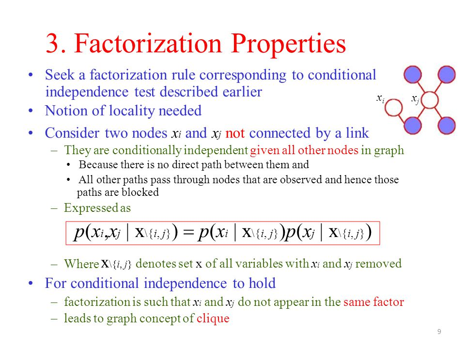 – Where For conditional independence to hold – factorization is such that x i and x j do not appear in the same factor – leads to graph concept of clique 3.