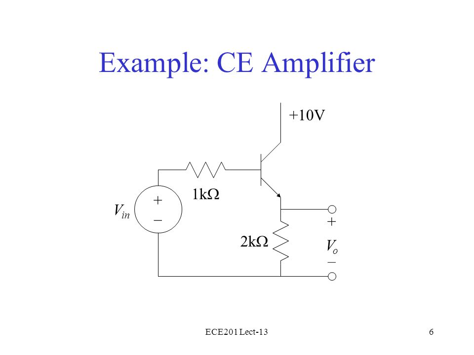 ECE201 Lect-136 Example: CE Amplifier 1k  V in 2k  +10V + – VoVo +–+–