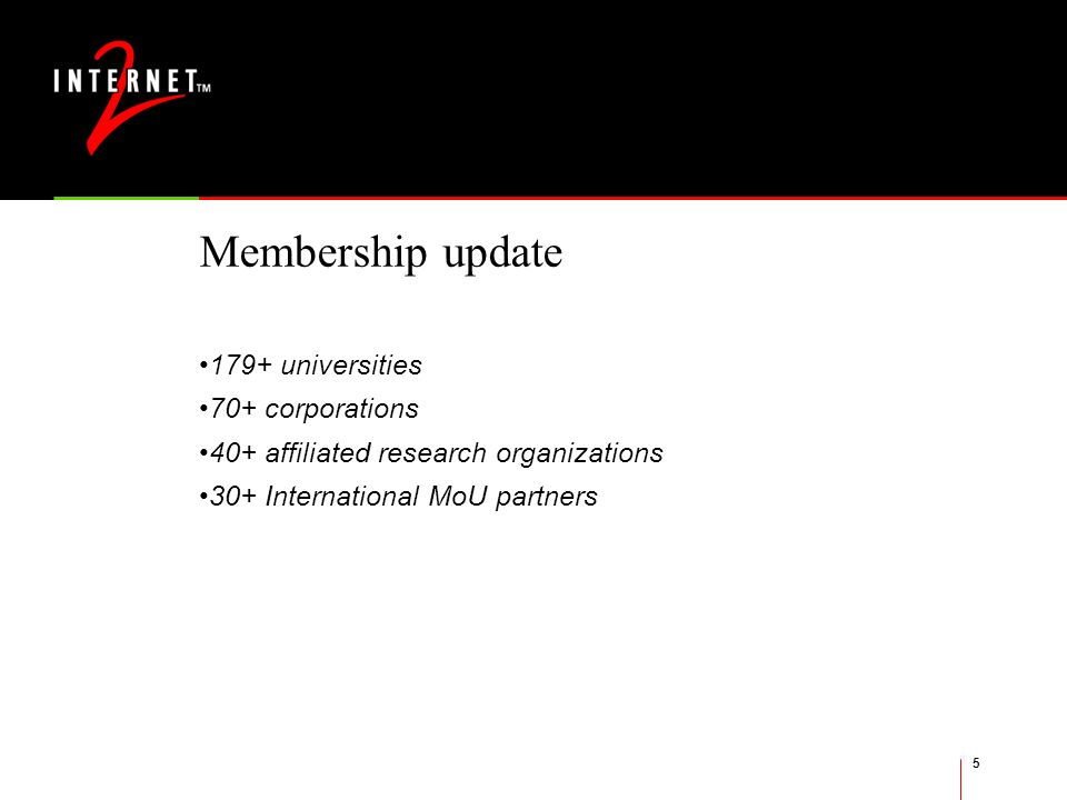 5 Membership update 179+ universities 70+ corporations 40+ affiliated research organizations 30+ International MoU partners