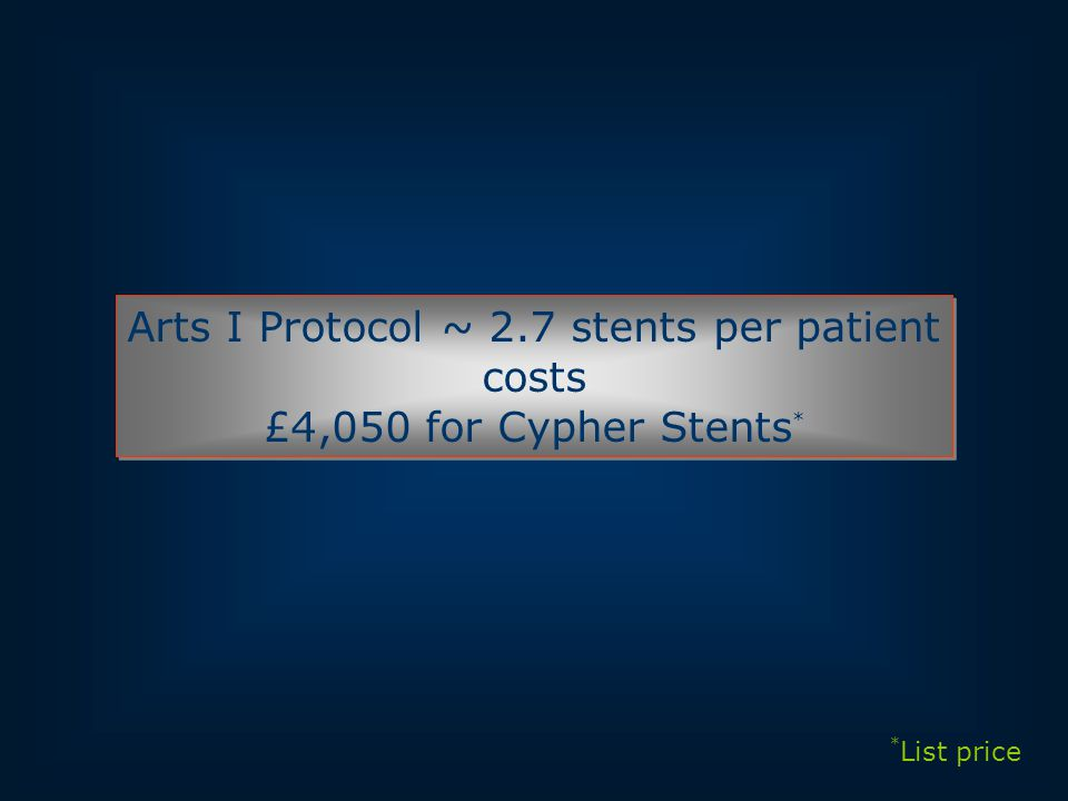 Arts I Protocol ~ 2.7 stents per patient costs £4,050 for Cypher Stents * Arts I Protocol ~ 2.7 stents per patient costs £4,050 for Cypher Stents * * List price