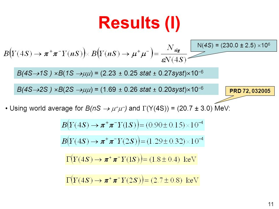 11 Results (I) N(4S) = (230.0 ± 2.5)  10 6 Using world average for B(nS      ) and  (Y(4S)) = (20.7 ± 3.0) MeV: PRD 72, B(4S  1S )  B(1S  ) = (2.23  0.25 stat  0.27syst)  10  6 B(4S  2S )  B(2S  ) = (1.69  0.26 stat  0.20syst)  10  6