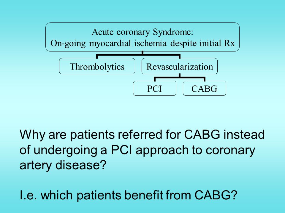 Why are patients referred for CABG instead of undergoing a PCI approach to coronary artery disease.