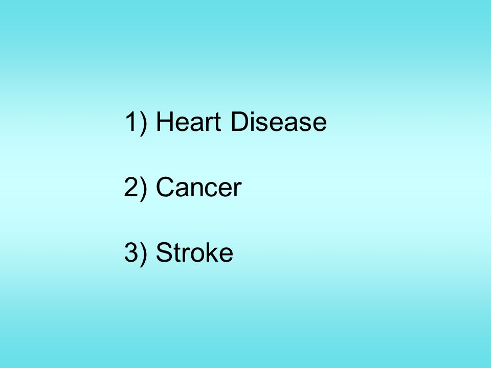 1) Heart Disease 2) Cancer 3) Stroke