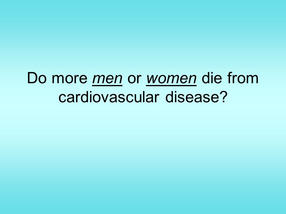 Do more men or women die from cardiovascular disease
