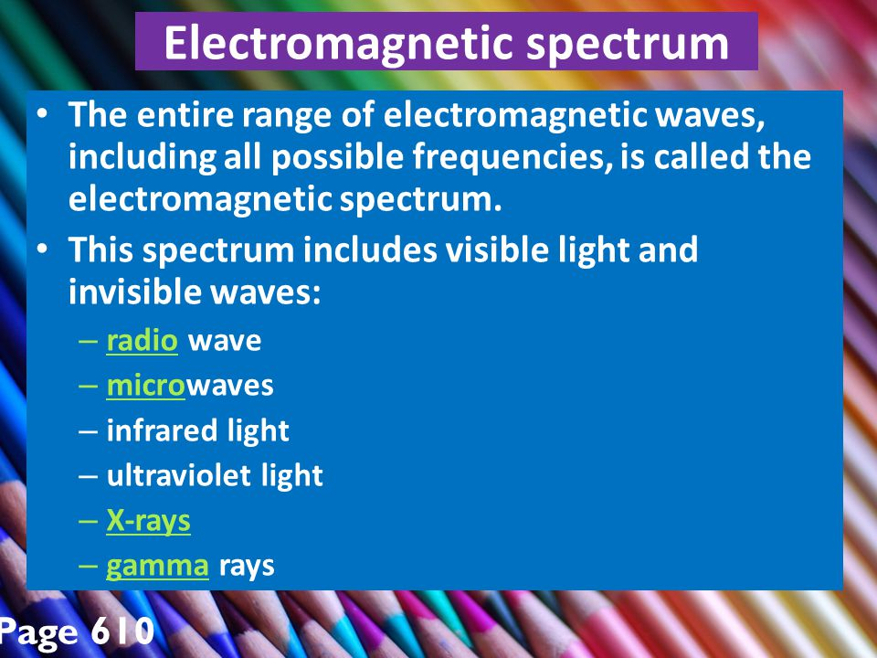 Electromagnetic spectrum The entire range of electromagnetic waves, including all possible frequencies, is called the electromagnetic spectrum.