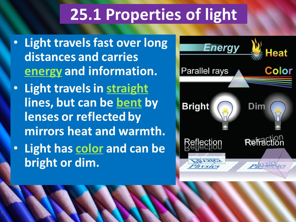 25.1 Properties of light Light travels fast over long distances and carries energy and information.