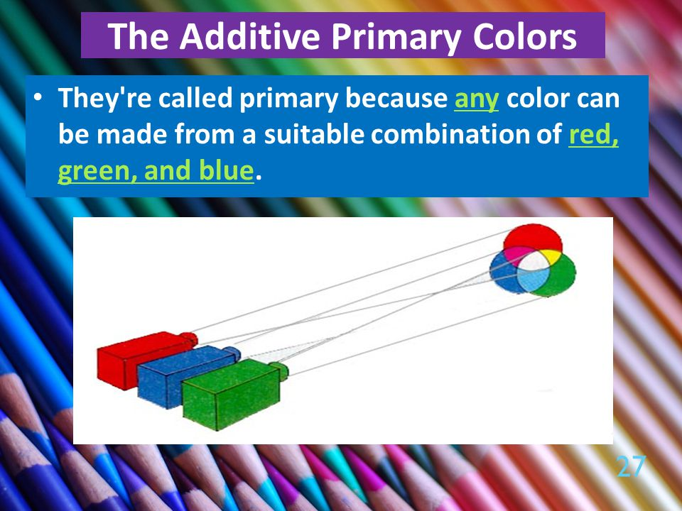 The Additive Primary Colors They re called primary because any color can be made from a suitable combination of red, green, and blue.