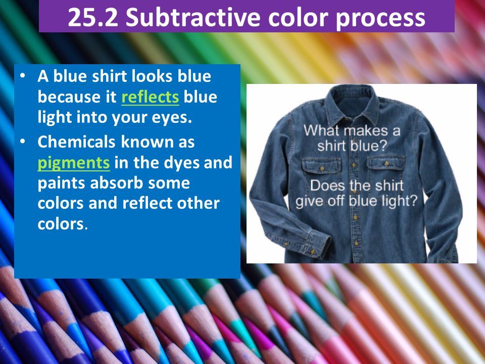 25.2 Subtractive color process A blue shirt looks blue because it reflects blue light into your eyes.