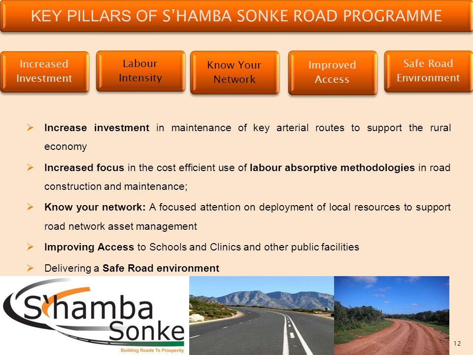 12 KEY PILLARS OF S'HAMBA SONKE ROAD PROGRAMME Increased Investment Labour Intensity Know Your Network Improved Access Safe Road Environment  Increase investment in maintenance of key arterial routes to support the rural economy  Increased focus in the cost efficient use of labour absorptive methodologies in road construction and maintenance;  Know your network: A focused attention on deployment of local resources to support road network asset management  Improving Access to Schools and Clinics and other public facilities  Delivering a Safe Road environment