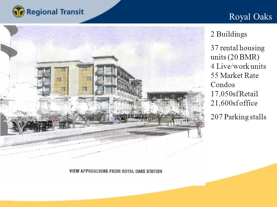 Royal Oaks 2 Buildings 37 rental housing units (20 BMR) 4 Live/work units 55 Market Rate Condos 17,050sf Retail 21,600sf office 207 Parking stalls