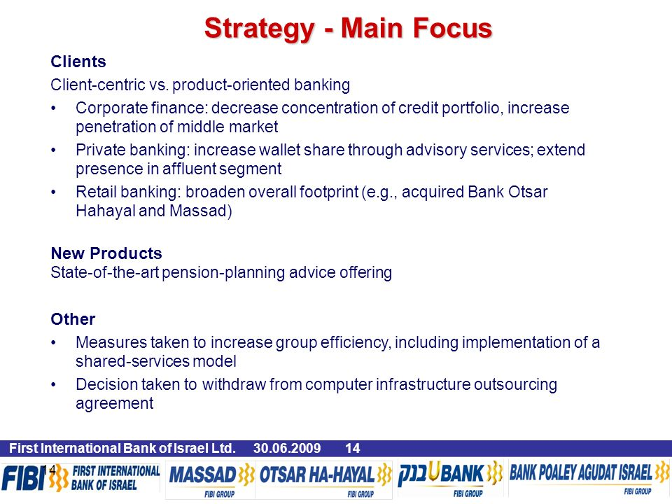 First International Bank of Israel Ltd Clients Client-centric vs.