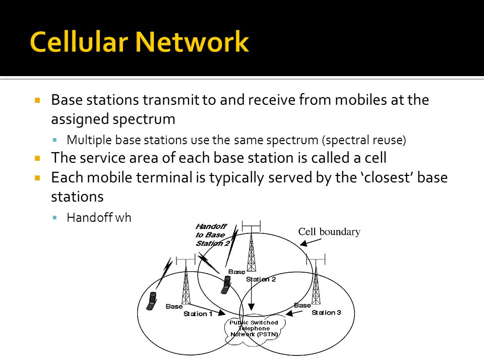  Base stations transmit to and receive from mobiles at the assigned spectrum  Multiple base stations use the same spectrum (spectral reuse)  The service area of each base station is called a cell  Each mobile terminal is typically served by the 'closest' base stations  Handoff when terminals move