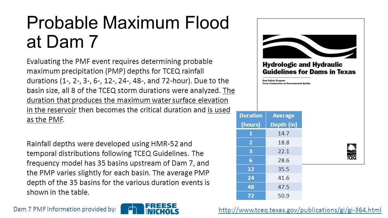 Probable Maximum Flood at Dam 7   Evaluating the PMF event requires determining probable maximum precipitation (PMP) depths for TCEQ rainfall durations (1‐, 2‐, 3‐, 6‐, 12‐, 24‐, 48‐, and 72‐hour).
