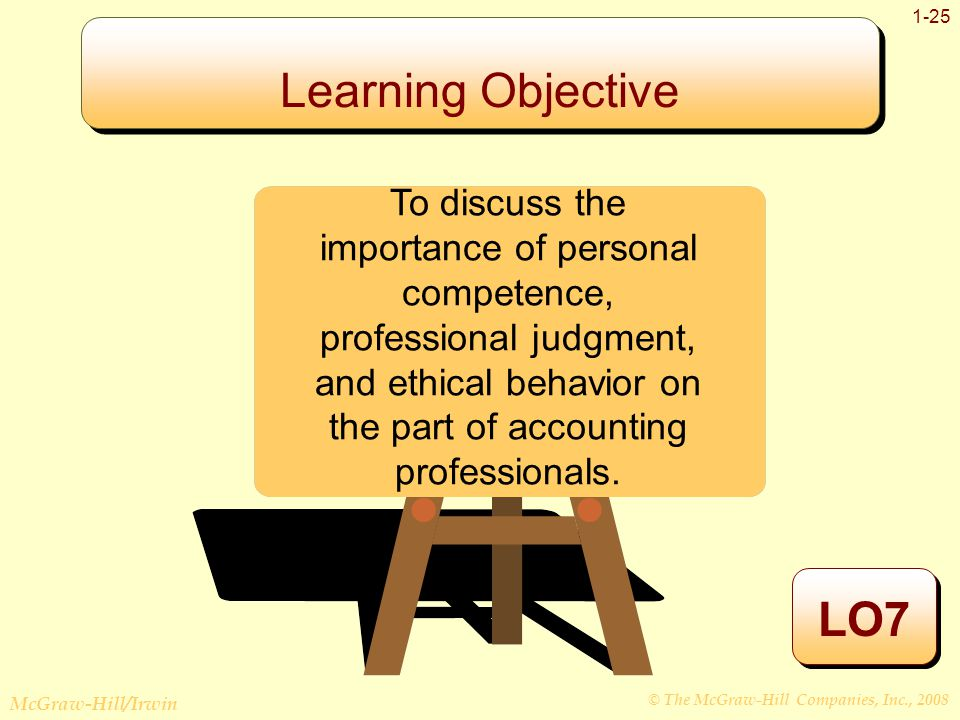 © The McGraw-Hill Companies, Inc., 2008 McGraw-Hill/Irwin 1-25 Learning Objective LO7 To discuss the importance of personal competence, professional judgment, and ethical behavior on the part of accounting professionals.