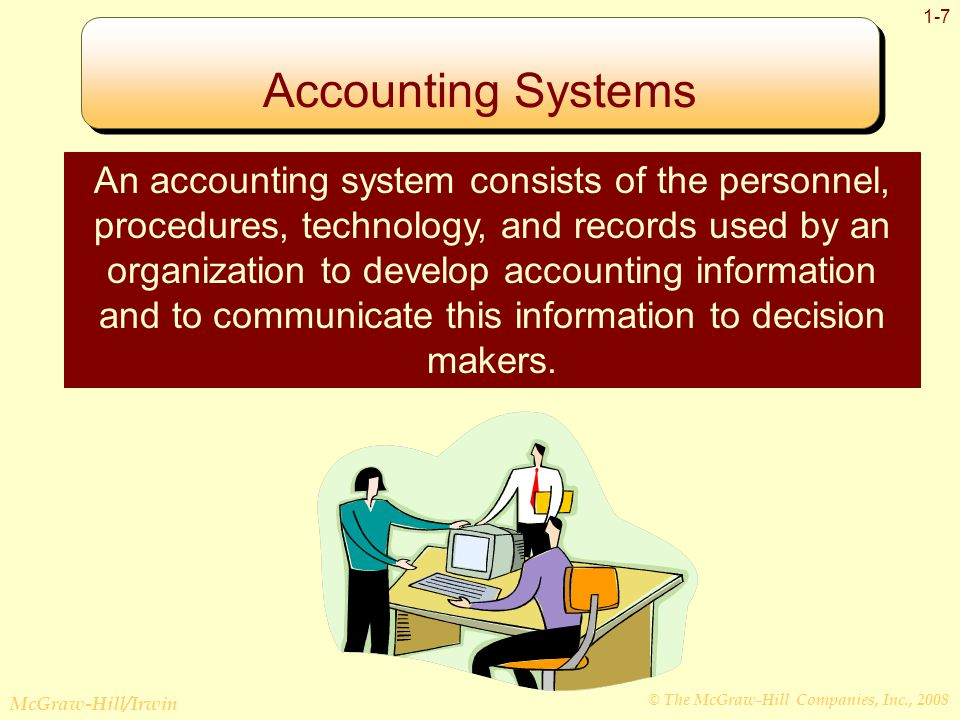 © The McGraw-Hill Companies, Inc., 2008 McGraw-Hill/Irwin 1-7 Accounting Systems An accounting system consists of the personnel, procedures, technology, and records used by an organization to develop accounting information and to communicate this information to decision makers.