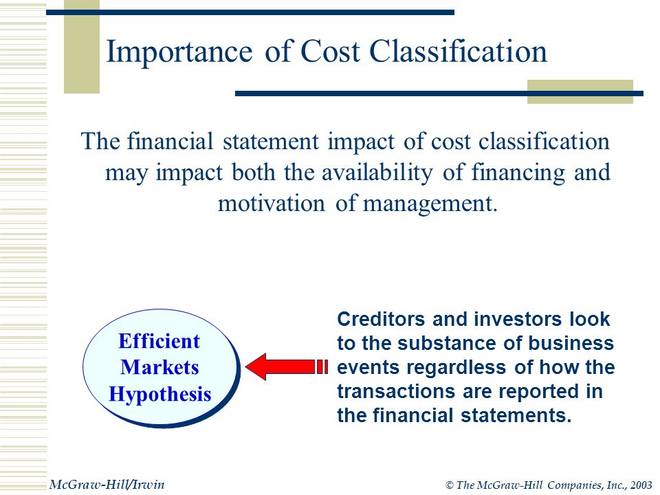 © The McGraw-Hill Companies, Inc., 2003 McGraw-Hill/Irwin Importance of Cost Classification Everyone interested in a company's financial statements will be concerned with how costs are classified.