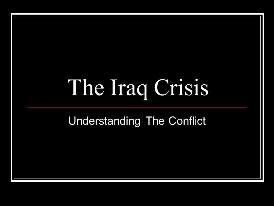 a study of articles about crisis in iraq Center for the study of america and lincoln university and led the foreign policy research institute as president crisis in the kurdistan region of iraq.