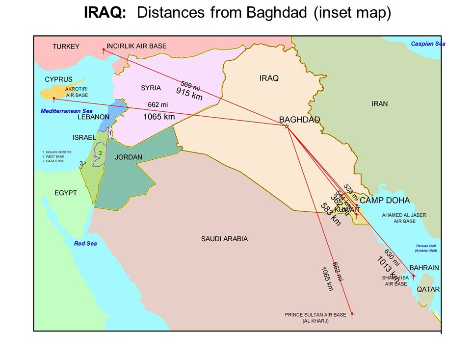 Iraq reference map and gis database unclassified inr ppt download 5 iraq distances from baghdad inset map sciox Image collections