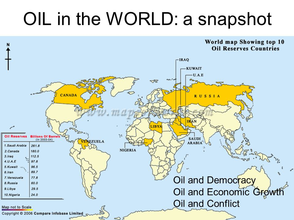 3 OIL in the WORLD: a snapshot Oil and Democracy Oil and Economic Growth Oil and Conflict