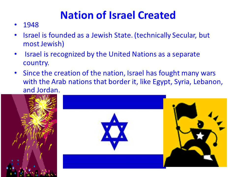 Nation of Israel Created 1948 Israel is founded as a Jewish State.
