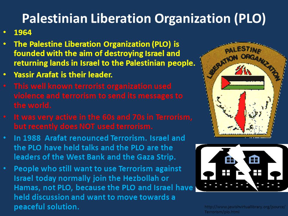 Palestinian Liberation Organization (PLO) 1964 The Palestine Liberation Organization (PLO) is founded with the aim of destroying Israel and returning lands in Israel to the Palestinian people.
