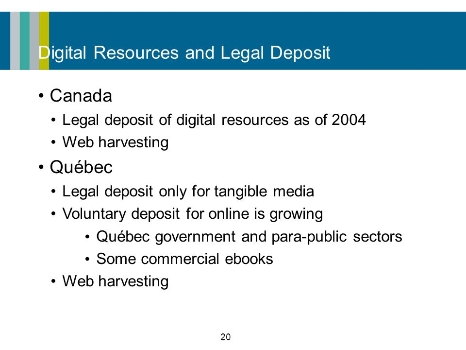 20 Digital Resources and Legal Deposit Canada Legal deposit of digital resources as of 2004 Web harvesting Québec Legal deposit only for tangible media Voluntary deposit for online is growing Québec government and para-public sectors Some commercial ebooks Web harvesting
