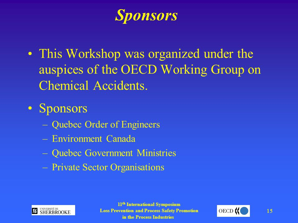 11 th International Symposium Loss Prevention and Process Safety Promotion in the Process Industries 15 Sponsors This Workshop was organized under the auspices of the OECD Working Group on Chemical Accidents.