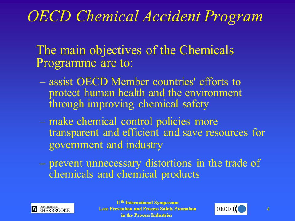 11 th International Symposium Loss Prevention and Process Safety Promotion in the Process Industries 4 OECD Chemical Accident Program The main objectives of the Chemicals Programme are to: –assist OECD Member countries efforts to protect human health and the environment through improving chemical safety –make chemical control policies more transparent and efficient and save resources for government and industry –prevent unnecessary distortions in the trade of chemicals and chemical products