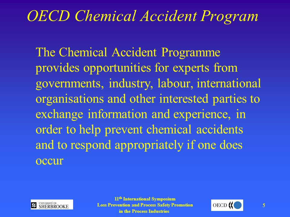 11 th International Symposium Loss Prevention and Process Safety Promotion in the Process Industries 5 OECD Chemical Accident Program The Chemical Accident Programme provides opportunities for experts from governments, industry, labour, international organisations and other interested parties to exchange information and experience, in order to help prevent chemical accidents and to respond appropriately if one does occur