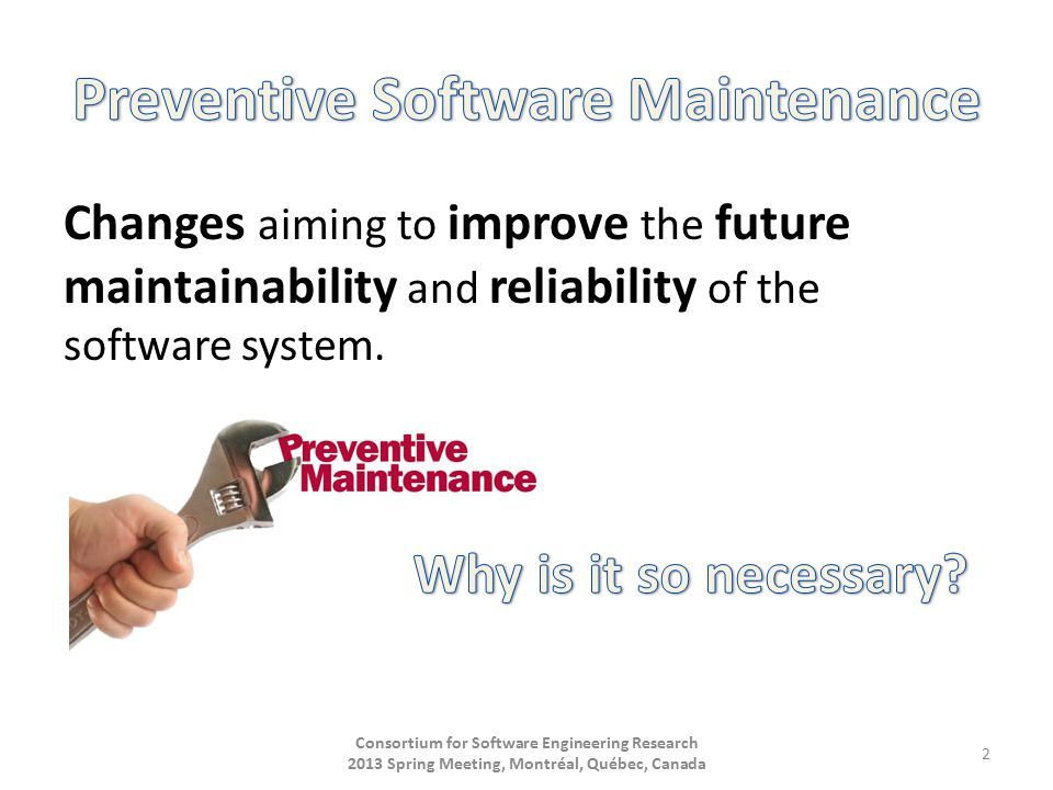 Changes aiming to improve the future maintainability and reliability of the software system.