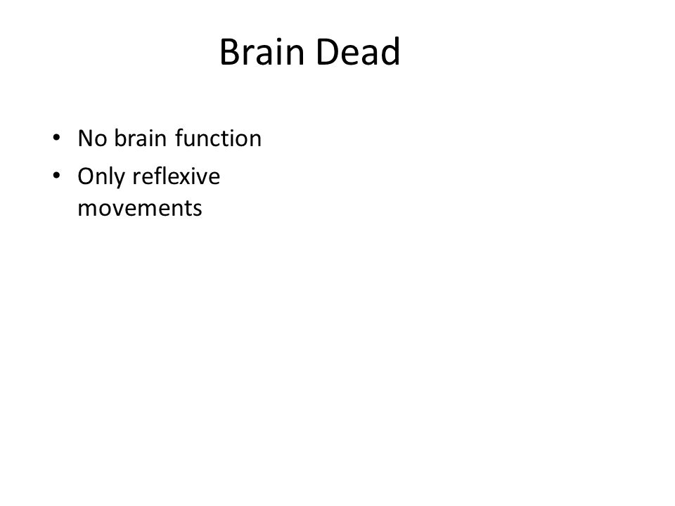 Brain Dead No brain function Only reflexive movements