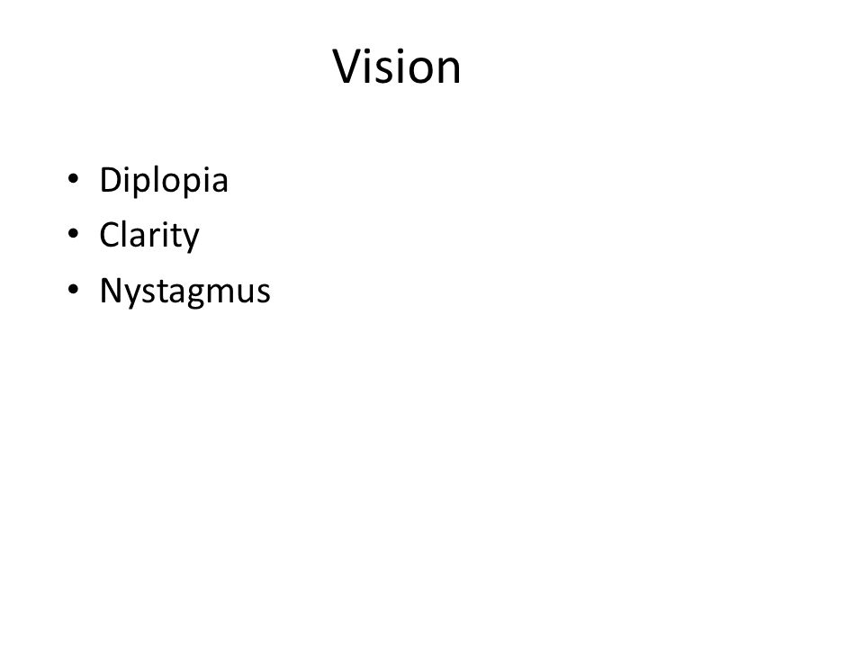 Vision Diplopia Clarity Nystagmus