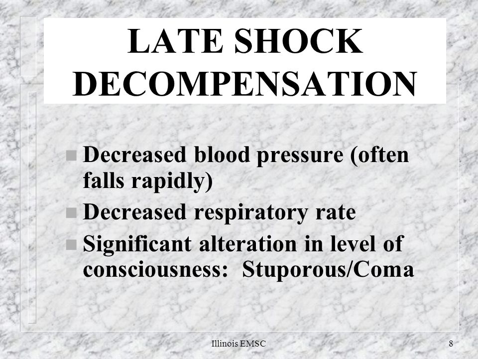 Illinois EMSC8 LATE SHOCK DECOMPENSATION n Decreased blood pressure (often falls rapidly) n Decreased respiratory rate n Significant alteration in level of consciousness: Stuporous/Coma