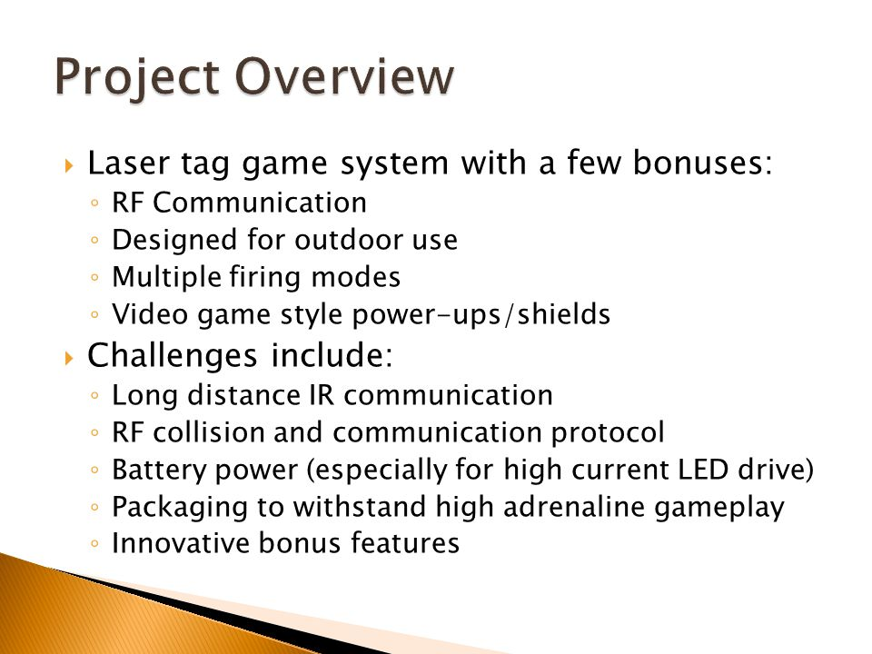 Project overview project specific success criteria block 3 laser tag game ccuart Choice Image