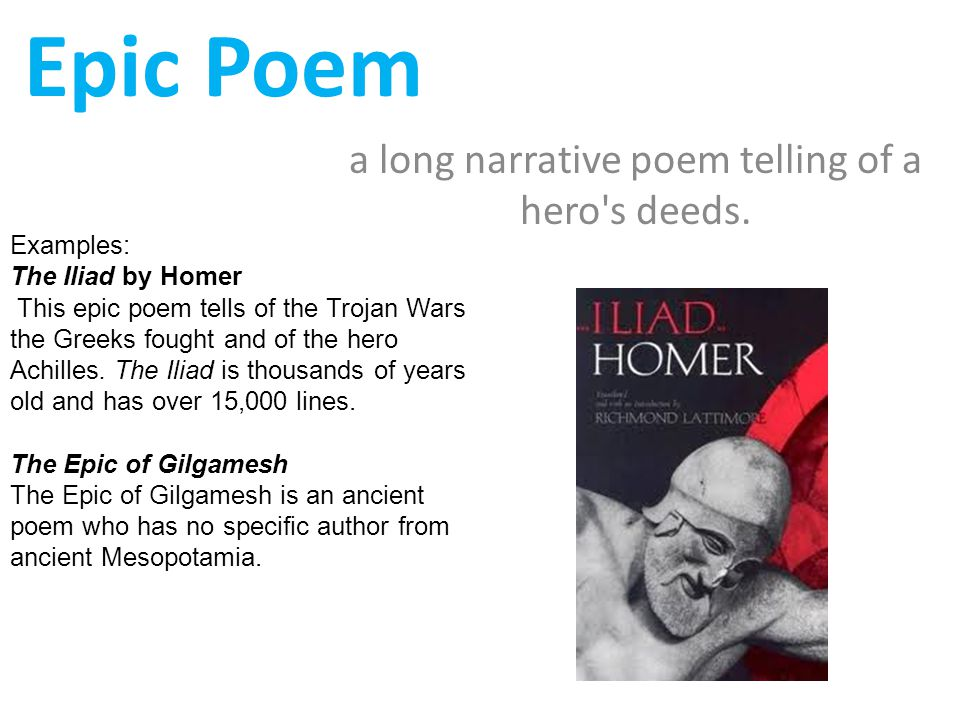notes on epic poetry A basic level guide to some of the best known and loved works of prose, poetry and drama from ancient greece - the iliad by homer.