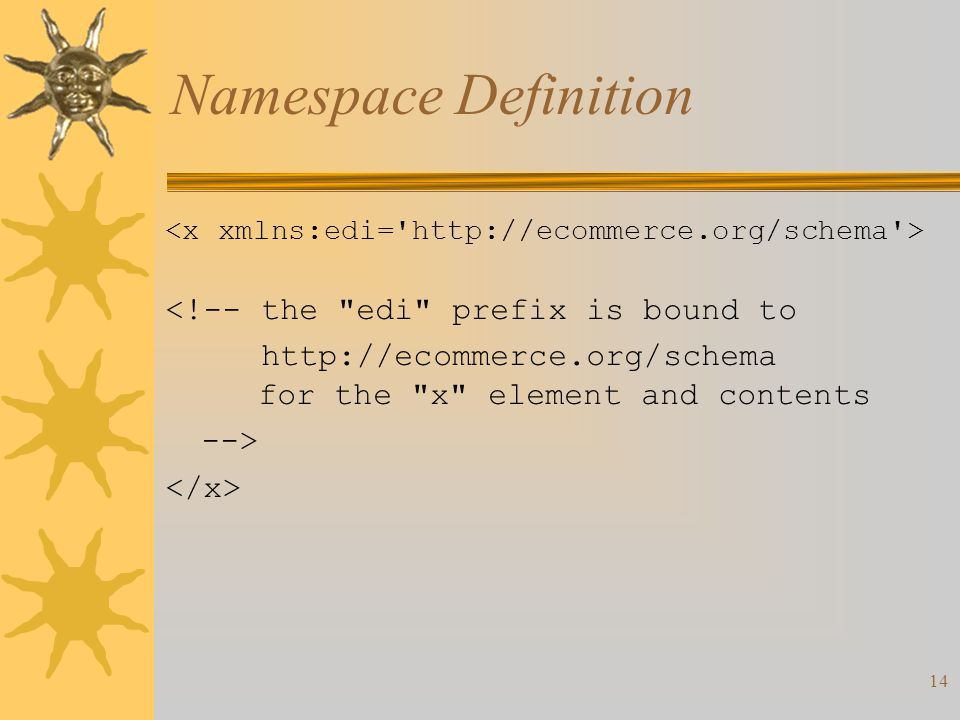 14 Namespace Definition <!--the edi prefix is bound to   for the x element and contents -->