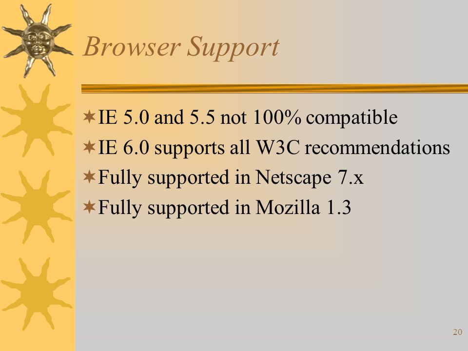 20 Browser Support  IE 5.0 and 5.5 not 100% compatible  IE 6.0 supports all W3C recommendations  Fully supported in Netscape 7.x  Fully supported in Mozilla 1.3