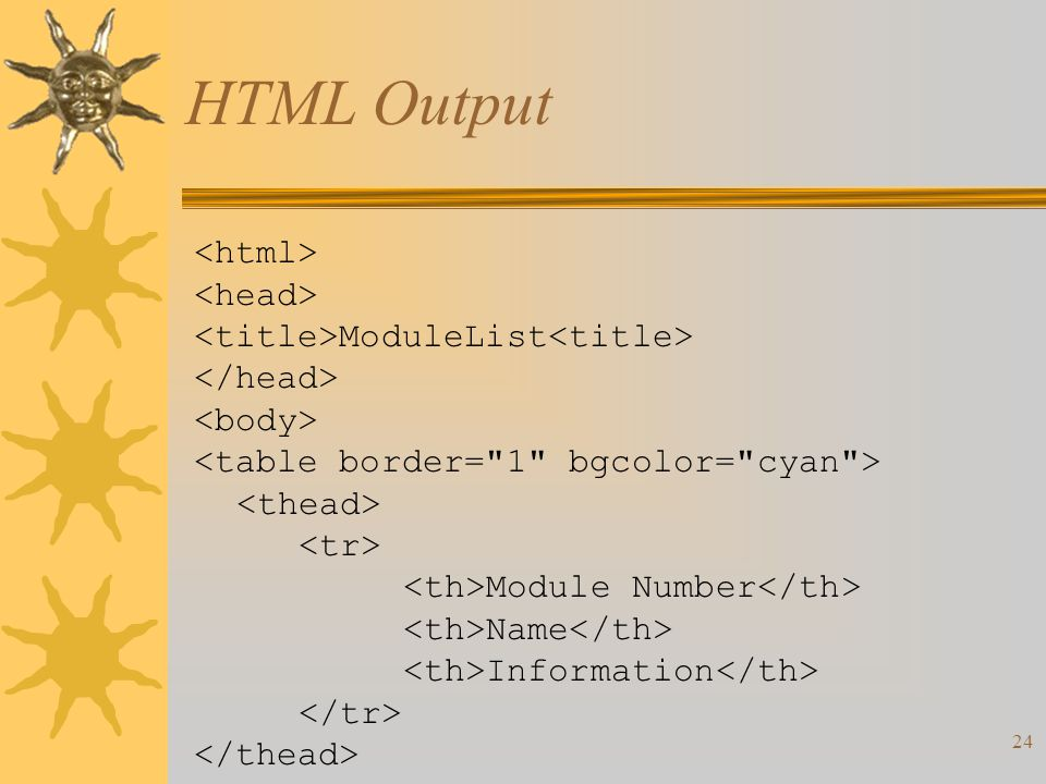 24 HTML Output ModuleList Module Number Name Information