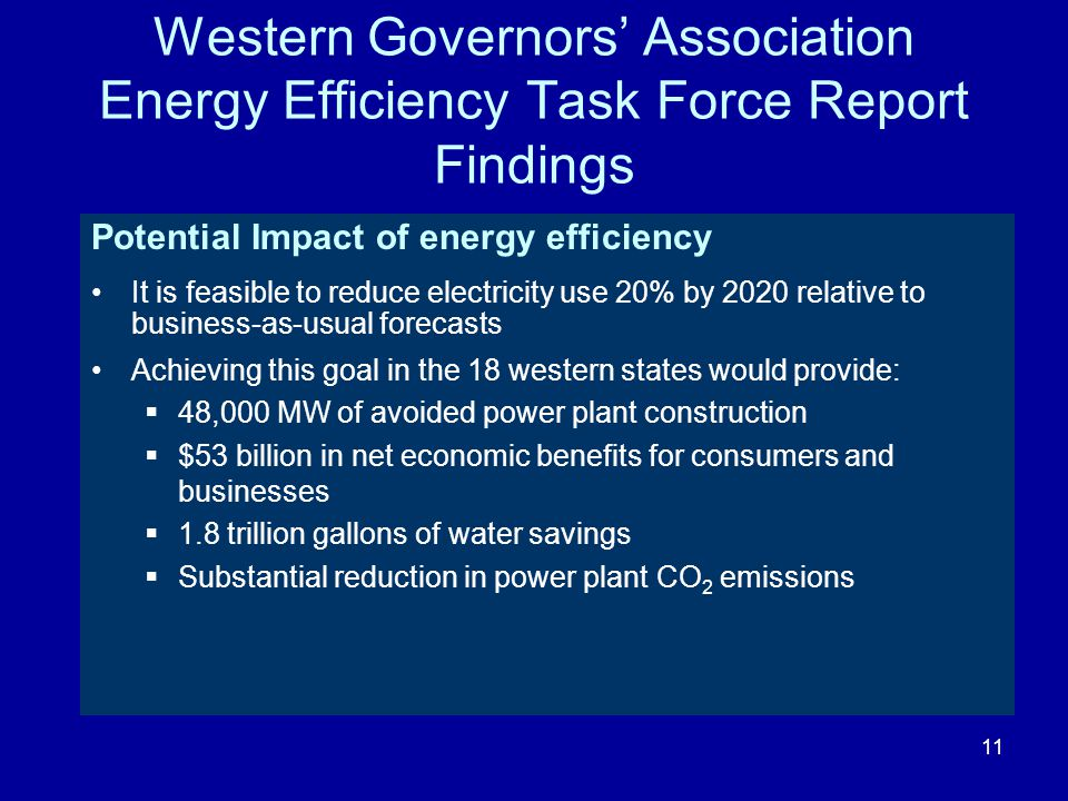 Western Governors' Association Energy Efficiency Task Force Report Findings Potential Impact of energy efficiency It is feasible to reduce electricity use 20% by 2020 relative to business-as-usual forecasts Achieving this goal in the 18 western states would provide:  48,000 MW of avoided power plant construction  $53 billion in net economic benefits for consumers and businesses  1.8 trillion gallons of water savings  Substantial reduction in power plant CO 2 emissions 11